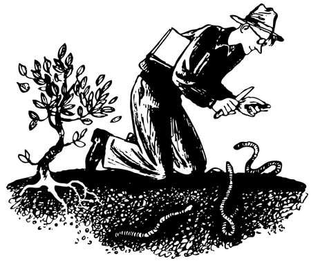 naturalist: Naturalist watching  worms in the ground