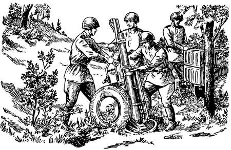 ww2: Russian troops with a large mortar Illustration