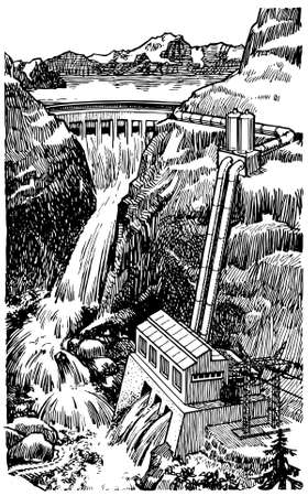 hydro electric: Hydro electric dam Illustration