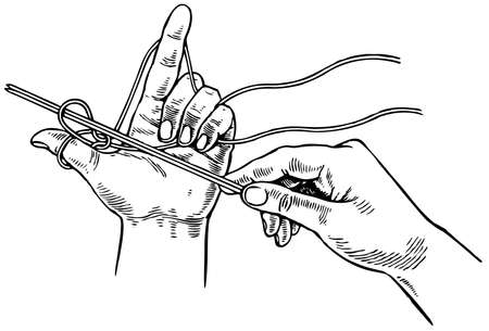 woo: Hands of woman knitting with wool