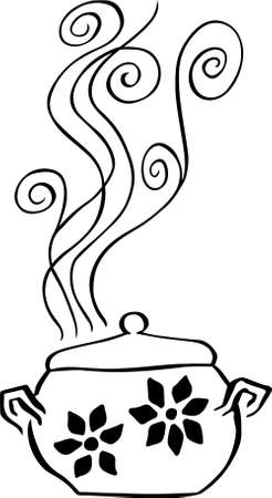 Boiling pan with flowers on it Ilustração