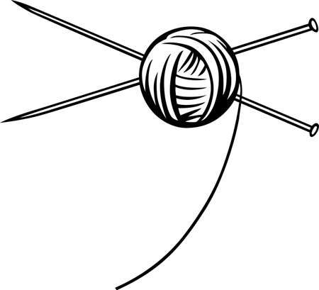 yarn: Yarn ball with needles