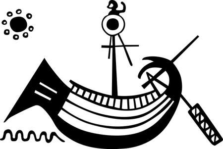 ancient roman: Ancient Greece boat at sea and the sun in the sky Illustration