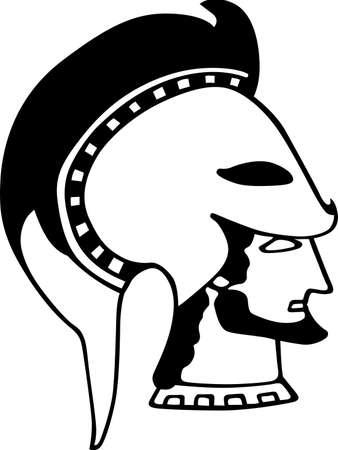Ancient Greece soldier s head Vector