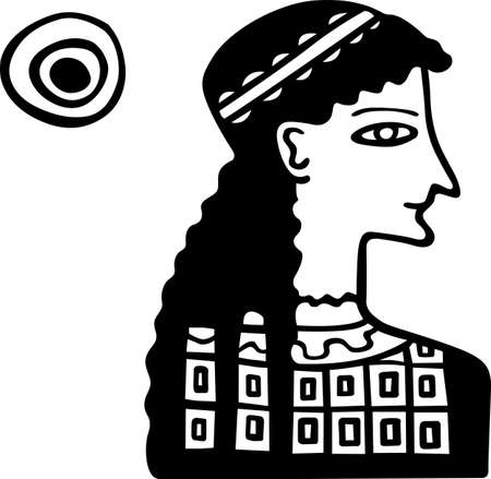 Ancient Greece lady and the sun in the sky Vector