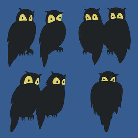 Some owls at night Vector