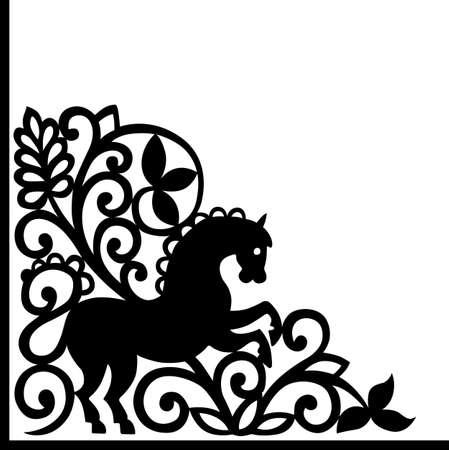 Decorative corner element with horse Stock Vector - 13450257