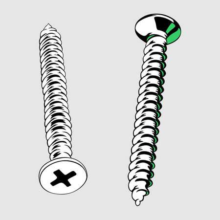 implement: Two screws close-up Illustration