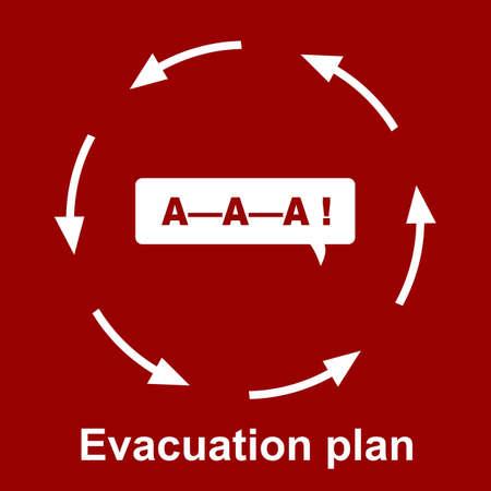 evacuacion: Plan de evacuación de emergencia sobre fondo rojo