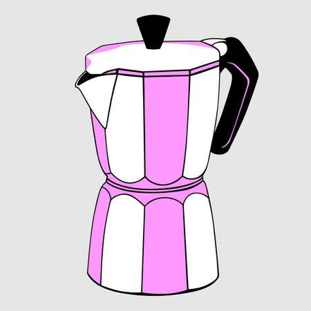 coffeepot: Coffeepot on light grey background