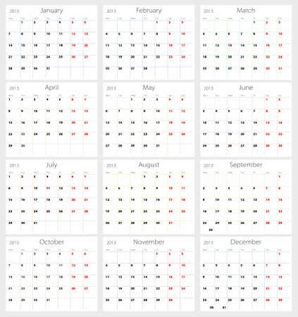 Calendar 2013 on white background Vector