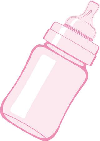Biberón rosa sobre fondo blanco