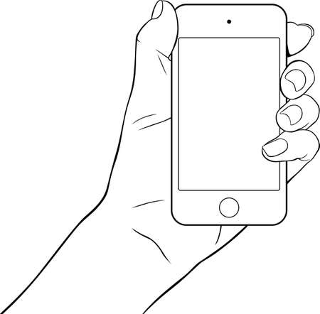 touch screen hand: Hand holding a small tablet pc Illustration