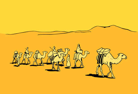Camel caravan in the desert Vector