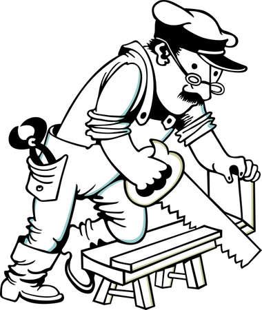 saws: Man sawing wood