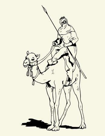 desierto del sahara: Tuareg de camellos piloto Vectores