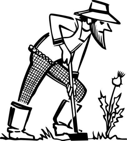 old farmer: Man with shovel Illustration