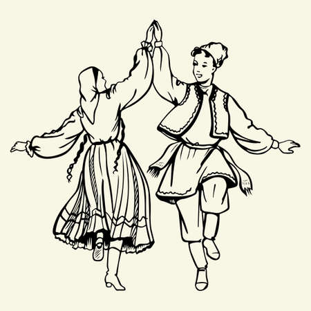 folk dance: Dancing couple wearing traditional dress Illustration