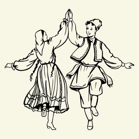 Para tańczy na sobie tradycyjny strój