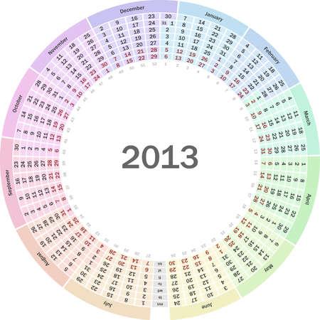 Circle calendar 2013 Stock Vector - 13814399