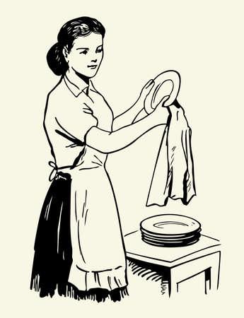 Femme sécher la vaisselle