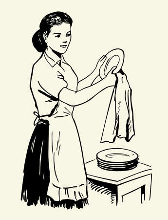 drying: Woman drying dishes Illustration