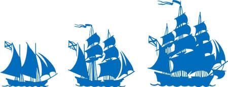 galley: Sailboats at sea Illustration