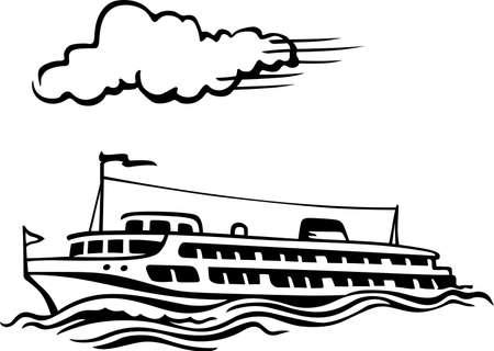 Ship at sea Stock Vector - 13814383