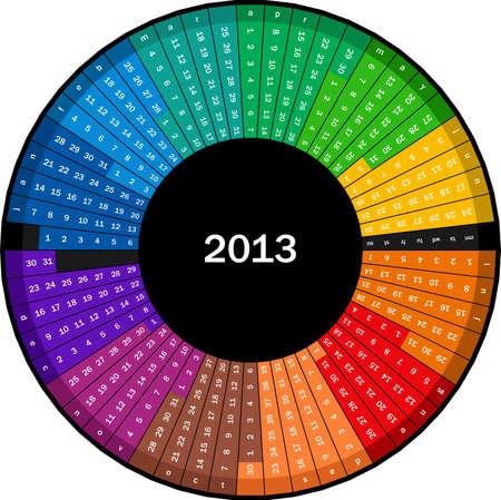 Circle calendar 2013 Stock Vector - 13814398
