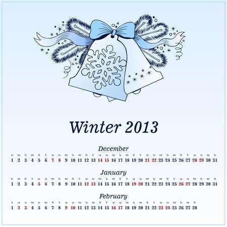 Calendar 2013  Winter  Vector