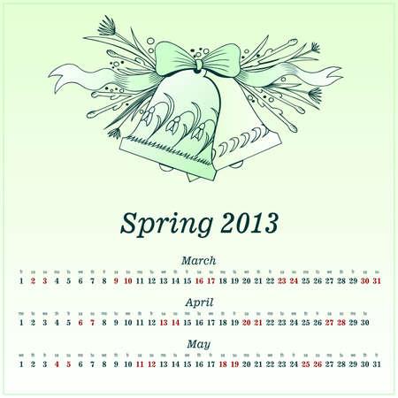 Calendar 2013 Spring Vector