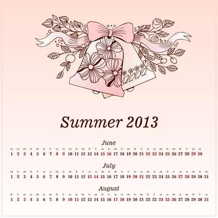 Calendar 2013  Summer  Vector