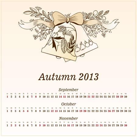 Calendar 2013  Autumn  Vector