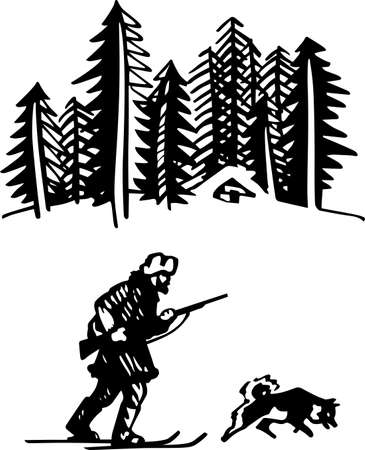 expedition: Hunter with dog in the forest Illustration