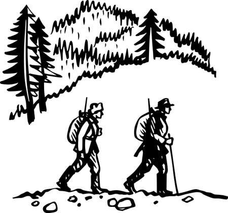 hunters: Two hunters walking in hills