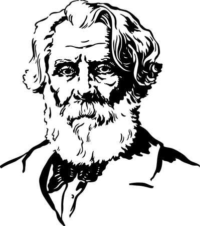 old man portrait: Portrait of writer Illustration