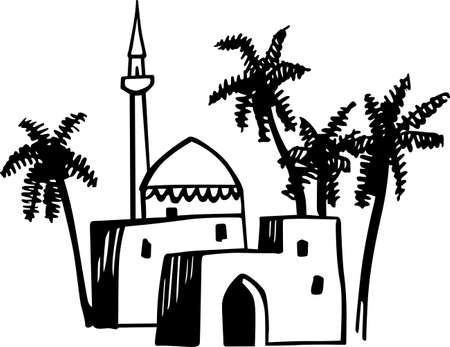 tabernacle: Arabic house and palms
