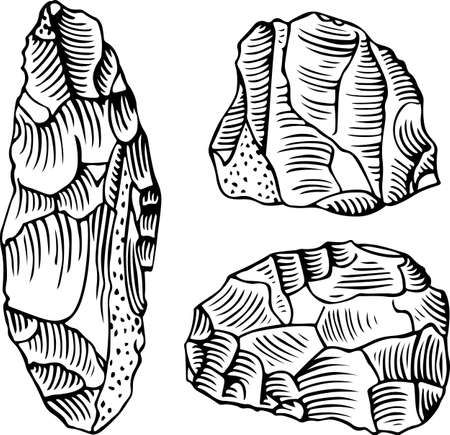 edad de piedra: Las herramientas de piedra de la edad de piedra Vectores