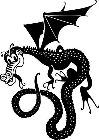 flying dragon: Comic cartoon dragon