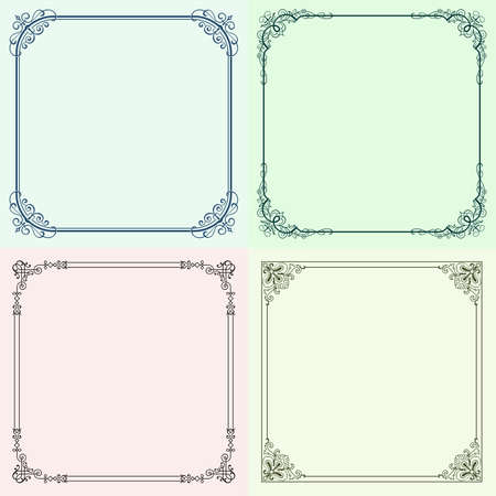 Four color decorative frames Stock Vector - 14651575