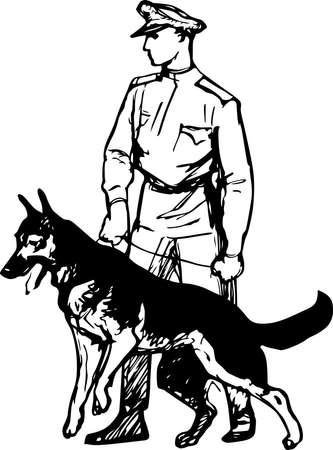 agent de sécurité: Garde-frontière avec le chien Illustration