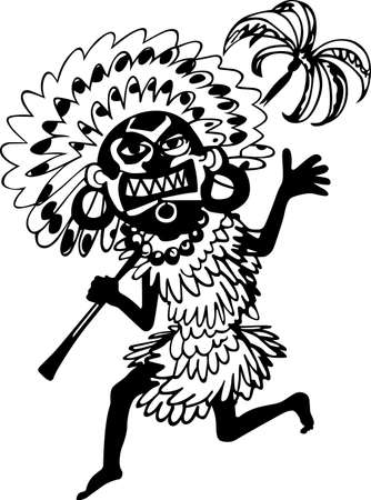 African shaman running with palm in his hand Vector
