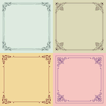 Four color decorative frames Vector