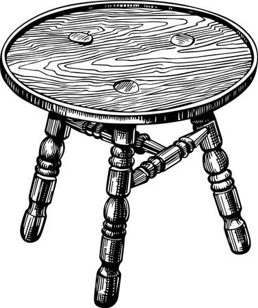 stools: Stool made of natural wood Illustration