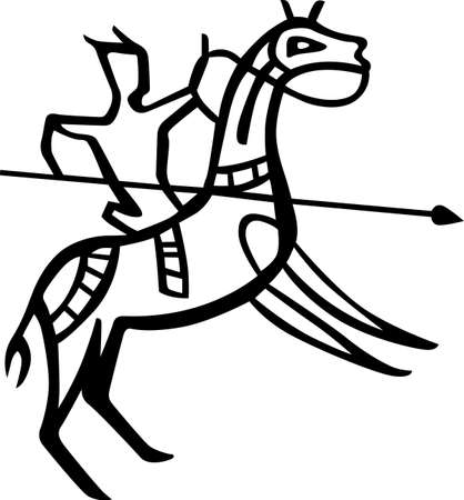 pike: Horseman with pike Illustration