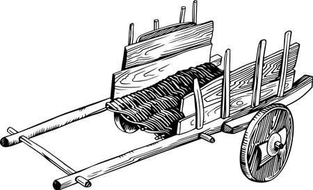 carreta madera: Carrito vacío de Madera