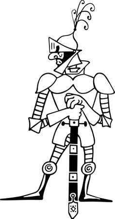 Comic knight with sword Vector