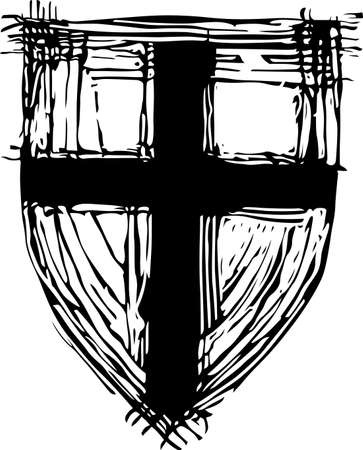 crusader: Old shield with cross on it