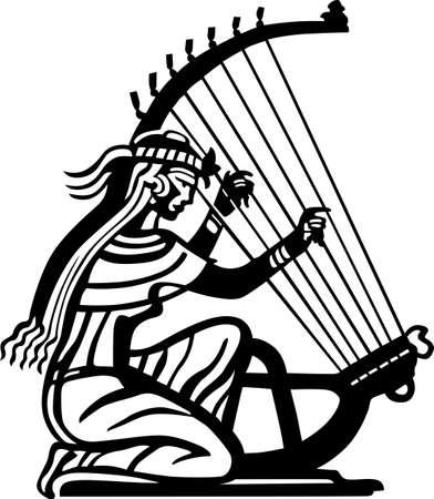harfe: Alte Frau mit ihrem Harfenspiel