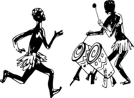 danza africana: Hombre africano corriendo al son de tambores africanos Vectores